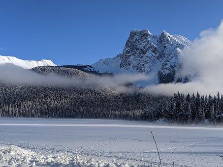 Emerald Lake, Snow, Nature, Winter, Landscape, Forest