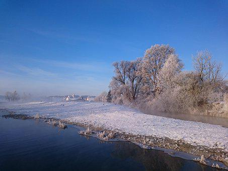 Morning, Cold, Water, Winter, Nature, Frozen, Landscape