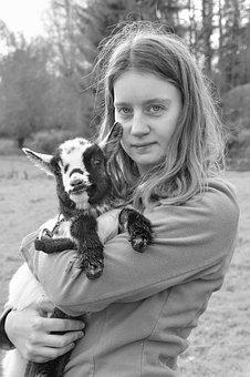 Girl, Kid, Goat, Portrait, Woman, Young, Baby Goat