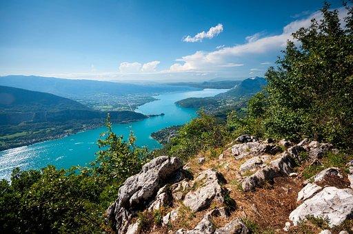 Annecy, Lake, Mountains, Rhône-alpes, Paragliding