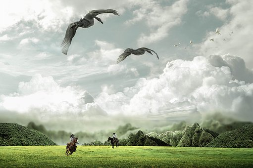 Fantasy, Miniature Landscape, Horses, Reiter, Meadow