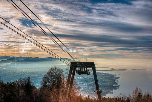Cable Car, Steel Cables, Support, Pledges, Mountain