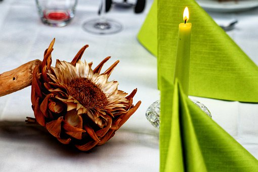 Table Decoration, Flower, Candle, Napkins