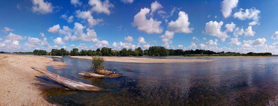 Loire, River, France, Tours, Nature, Sky, Lights