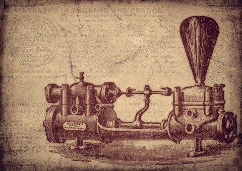 Vintage, Water Pump, Machine, Invention, Patent, Old