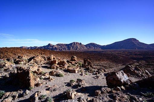 Volcanic Landscape, Rock, Sky, Boulders, Panorama