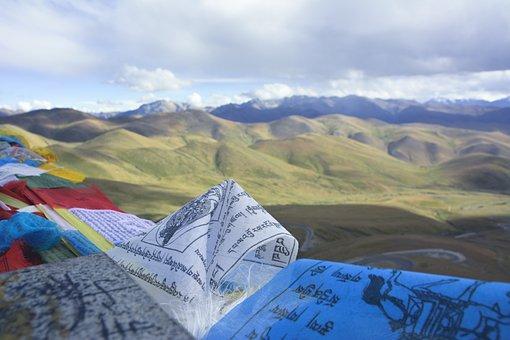 Tibet, Flag, Prayer, Sky, Landscape, Asia, Mountains