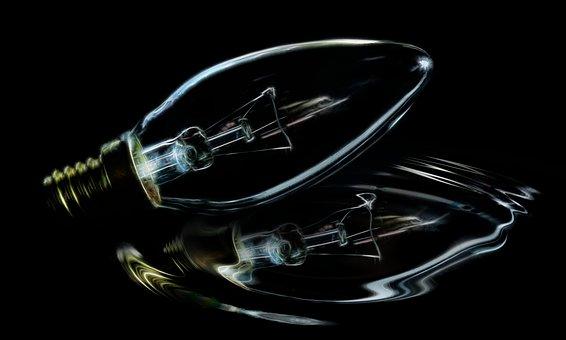 Light Bulb, Distorted, Mirroring, Reflection, Shiny