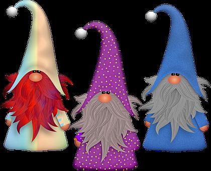 Gnomes, Scandivian, Elf, Imp, Beard, Fabric, Winter