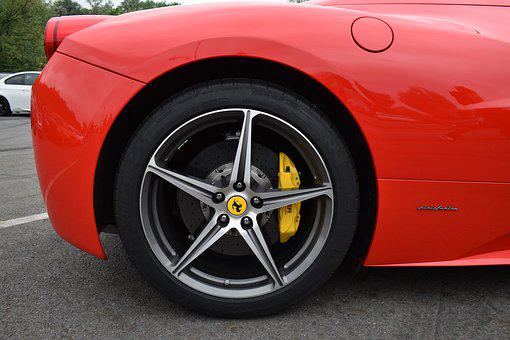 Ferrari, Red, Emblem, Vehicle, Noble, Speed, Wheels