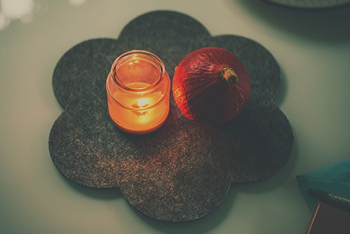 Table, Table Setting, Candle, Pumpkin, Stocky, Scene