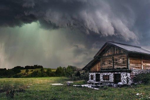 Landscape, Storm, Sky, Clouds, House