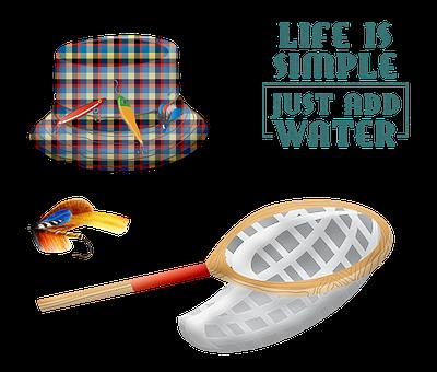 Fishing Gear, Tackle, Basket, Hat
