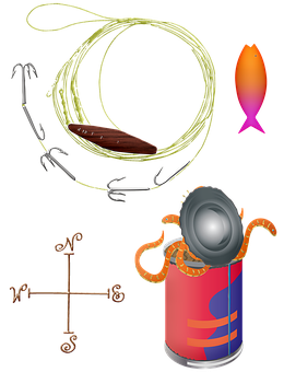 Fishing Gear, Tackle, Basket, Hat, Food, Gear