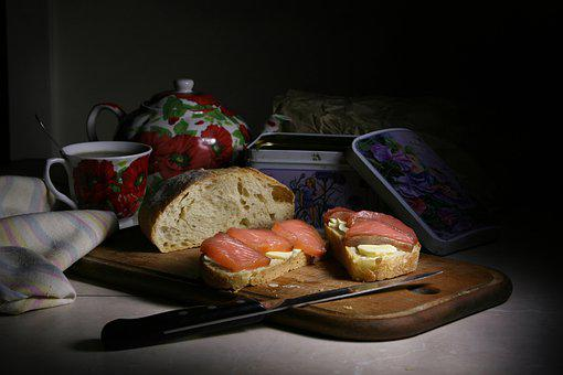 Still Life With Sandwich, Tea, Morning, Breakfast