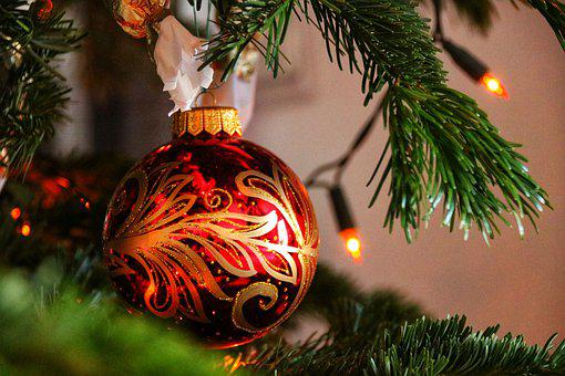 Bauble, Christmas, Tre, Decoration, Ornament, Xmas, Red