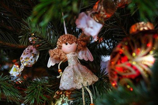 Angel, Tree, Xmas, Wings, Decoration