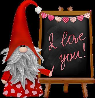 Valentine Gnome, Scandia, Nordic, Chalkboard