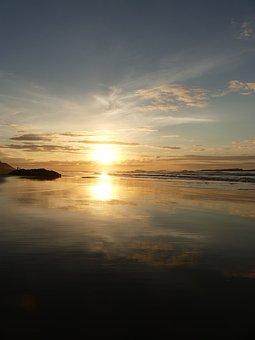 Sunset, Sea, Beach, Sky, Water