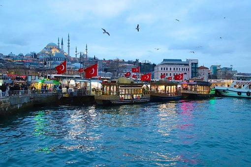 Eminönü, Fish, Fisherman, Turkish Flag, Boats, Beach