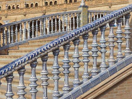 Seville, Plaza Espana, Andalusia, Bridge, Railing