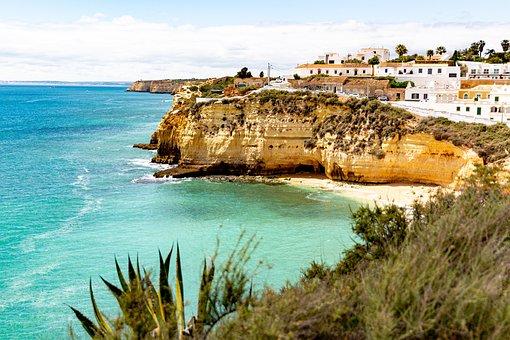 Portugal, Cliff, City, Beach, Ocean, Holidays, Sky