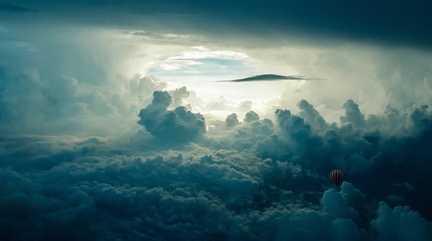 Hot Air Balloon, Clouds, Composing