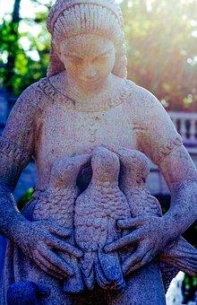 Figure, Girl, Sculpture, Birds, Fairy Tales, Guard