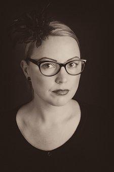 Portrait, Studio, Girl, Woman, Face, Glasses, Flower