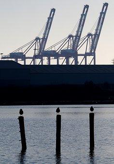 Industrial, Landscape, Crane, Port