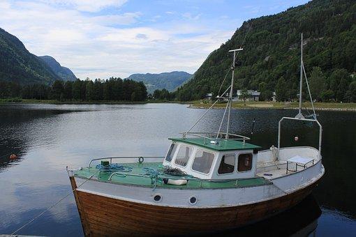 Boat, Landscape, Norway, Fjords, Nature
