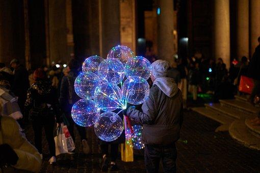 Seller, Evening, Market, Lighting, Human, Lights