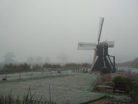 Fog, Foggy, Mist, Mill, Landscape