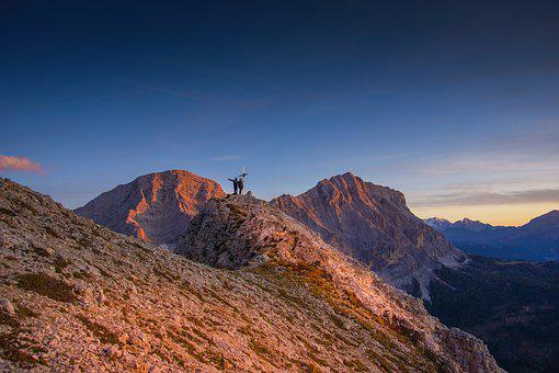 Mountain, Alps, Top, Cross, People