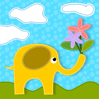 Elephants, Animals, Flowers, Nature, Love, Feeling