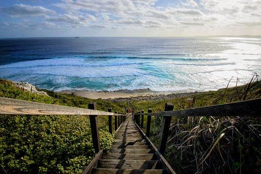 Ocean, Stairs, Beach, Sea, Water, Coast, Nature, Sky