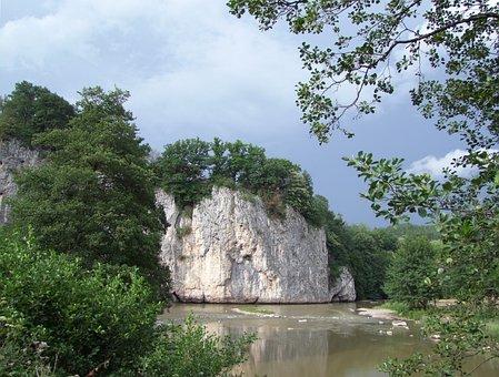 Cliff, Stream, Stone, Partium, Green, Environment