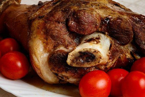 Meat, Pork, Baked, Pork Knuckle, Pork Leg, Pig