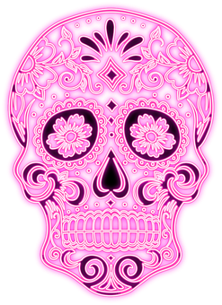 Sugar Skull, Neon, Pink, Skeleton, Skull, Valentine