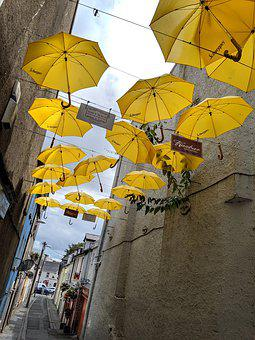 Ireland, Waterford, Umbrellas, Lane, Pub, Yellow
