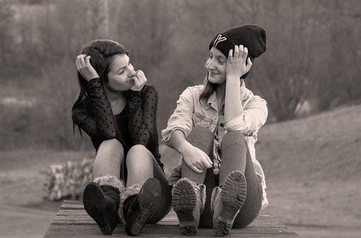Sisters, Portrait, Siblings, Girl, Sister, Smile