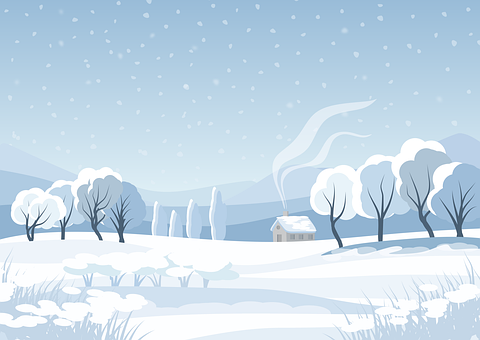 Trees, Forest, Cabin, House, Snow, Cold, Sky, Stylized