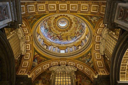 St Peter's Basilica, Vatican, Illuminated, Dome