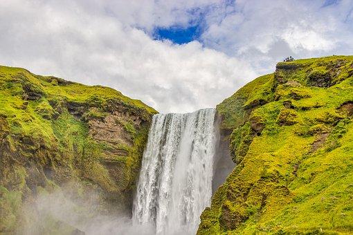 Waterfall, Iceland, Landscape, Water