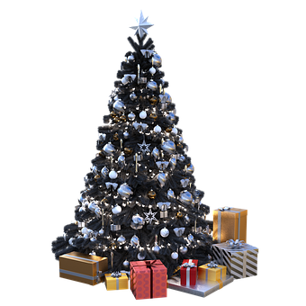 Christmas, Tree, Black, Decorations, Presents, Winter
