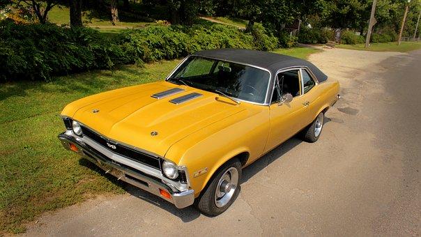 Yellow Car, Muscle, Old, Nova, Super, Ss, Mean, Hotrod