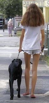 Girl, Young, Hair, Long, T-shirt, White, Dog, Black