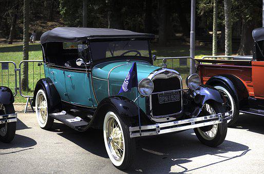 Ford, 1928, Automobile, Green, Car, Vintage, Old