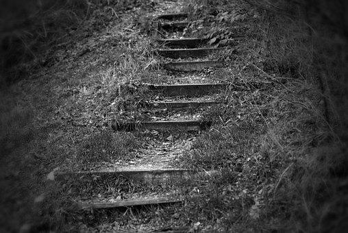 Gradually, Away, Path, Stairs, Staircase, Rise