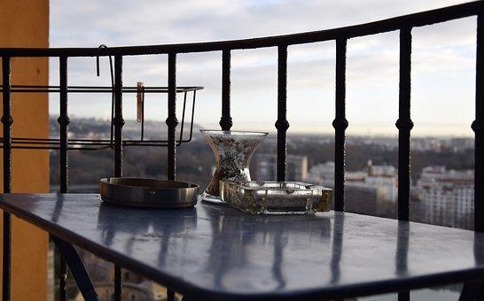 Balcony, Table, Ashtray, City, Terrace